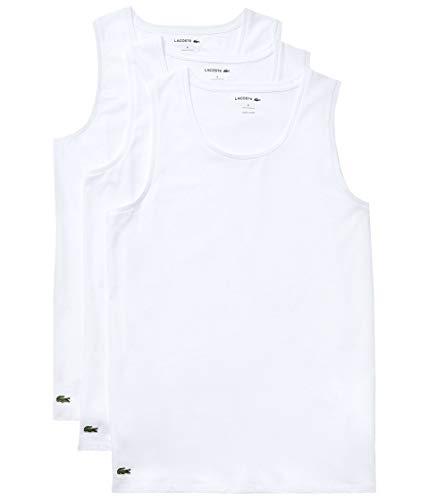 Lacoste Essentials - Tanques Ajustados de algodón para Hombre, 3 Unidades, 100% algodón, Blanco, Medium