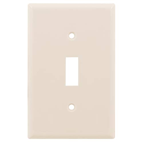 "Power Gear Single Toggle Switch Oversized Wall Plate Cover, 1 Gang, Unbreakable Faceplate, 3.1"" x 4.9"", Screws Included, Light Almond, 30596"