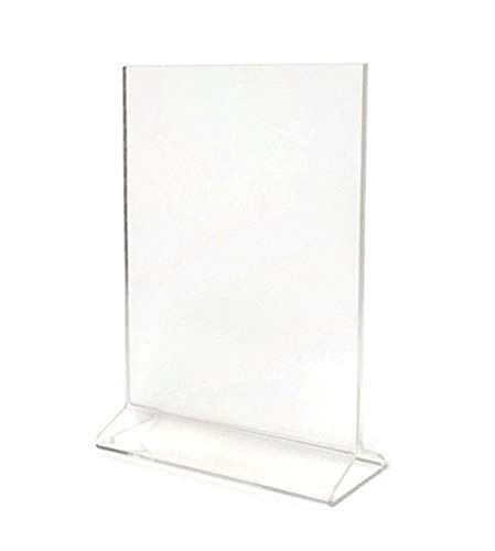 Cristil 5x7 Acrylic Menu Holder/Upright Sign Holder/Clear Table Card Display/Plastic Photo Frame/Wedding Picture Stand (Pack of 6)