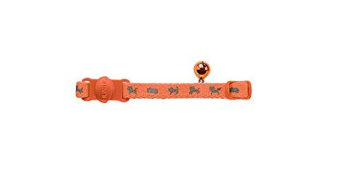 HUNTER NEON Katzenhalsband, Nylon, reflektierend, Sicherheitsverschluss, Glöckchen, orange