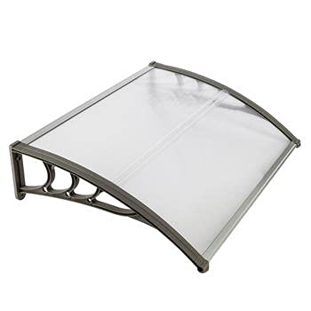 GEEDOOWIN 40''x32'' Window Awning Door Canopy,Overhead Door Modern Polycarbonate Cover Outdoor Front Door Sun Shetter Patio Canopy UV Rain Snow Sunlight Protection Hollow Sheet (White&Gray Bracket)