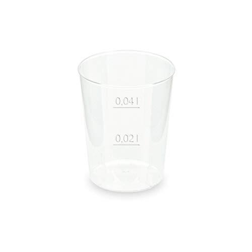 1-PACK Mehrwegbecher Shotglas Schnapsglas Stamperl Pfandbecher unzerbrechlich klar PP Eichstrich 0,04 l Ø 4,3 cm, 150 Stück