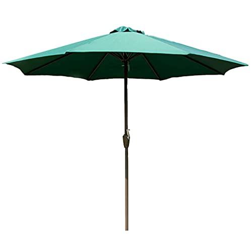 Sombrilla de jardín, 270 cm de poliéster, sombrilla de hierro con protección solar de manivela, sombrilla de playa, toldo de refugio para patio, mercado, color rojo