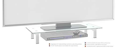 RICOO TV Board FS6028-W Glas Aufsatz Tisch Ständer für Lowboard, Sideboard & Kommode | Bildschirmständer Standfuss Bildschirmerhöhung Stand Rack Regal Lift Podest | Weiß Hochglanz