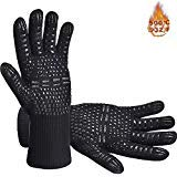 BBQ Grill Gloves, 932°F Extreme Heat Resistant Oven Mitts, Silicone Non-Slip Kitchen Cooking