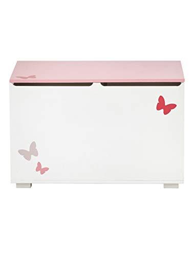 VERTBAUDET Spielzeugtruhe,Schmetterlinge für Kinder weiß/rosa ONE Size