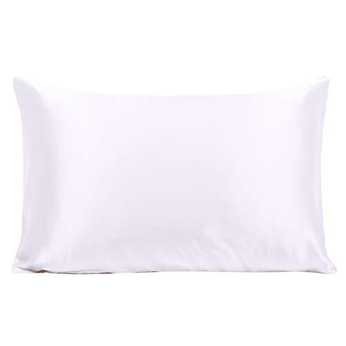 Ravmix 100% Pure Mulberry Silk Pillowcase Standard Size 21 Momme 600 Thread Count Hair Skin Hidden Zipper Hypoallergenic Soft Breathable Both Sides Silk Pillow Case 20×26inch White