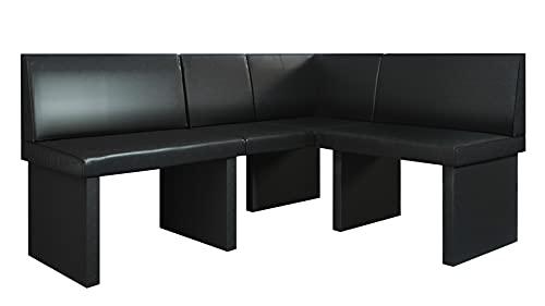 Vladon Banco esquinero Dallas 170 x 81,5 x 129 cm. Banco de Cuero Artificial tapizado en Negro
