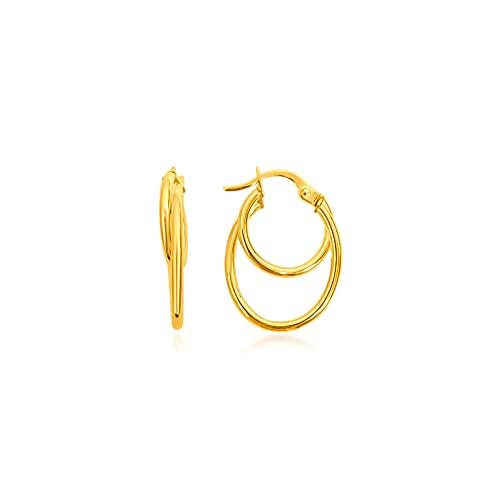 Pendientes de aro redondos, hilo liso 22/15 mm/2 mm, oro amarillo 9 K (375) 0,8 g