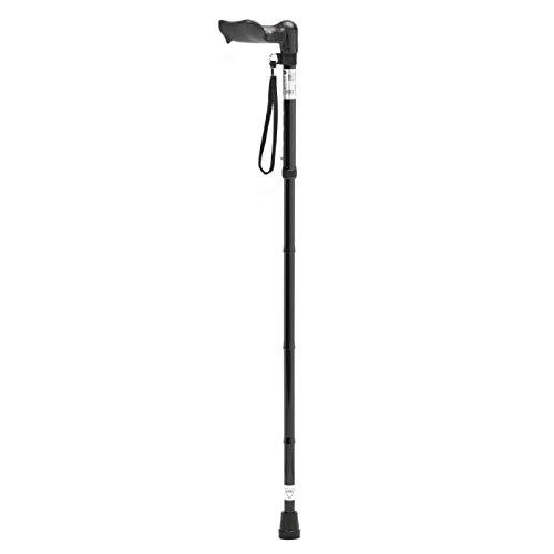 Patterson Medical - Bastón para zurdos (empuñadura ergonómica, plegable, tamaño largo), color negro