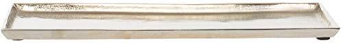 Brandsseller Dekorativer Teller 44,5x12,5 cm Dekoschale Aluminium Silber Rechteckig
