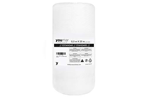 YOUMAR SOLUTIONS - Rotolo di pluriball per confezionare prodotti fragili in trasporto e traslochi. Elevata protezione. pluriball di qualità europea. (0,5X25M)