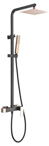 Barra ducha extensible con mango de ducha cuadrado Imex Suecia Negro Oro Rosa BDC032-NOR