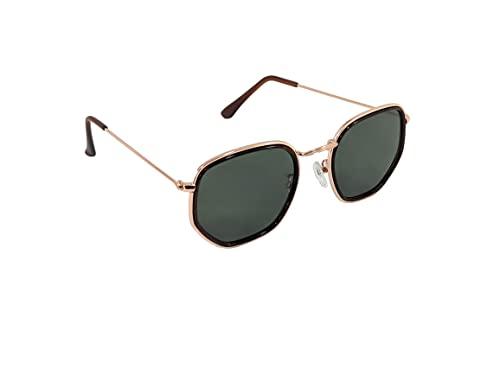 Óculos De Sol Hexagonal Masculino Feminino Ptoteção UV (Verde)