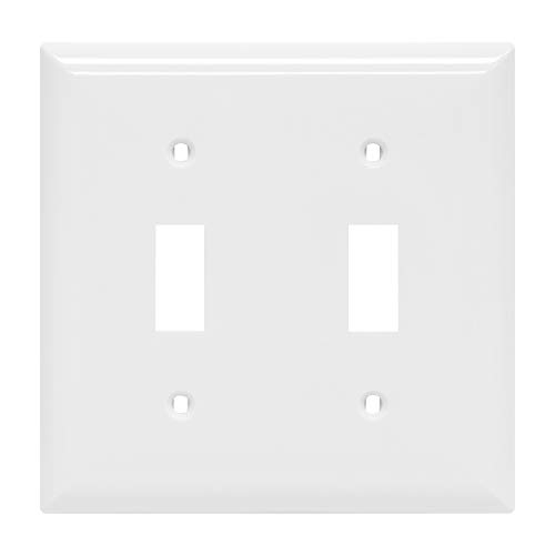 Power Gear Double, White, Unbreakable Nylon, Screws Included, UL Listed, 40025 Toggle Switch Wallplate, Standard