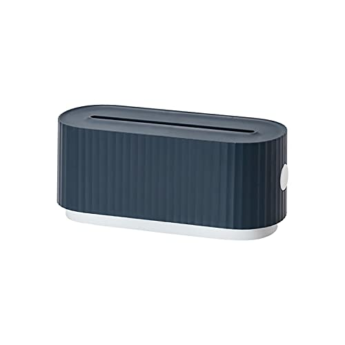 POHOVE Caja de gestión de cables Caja organizadora de cables para ocultar cables de extensión, cable, tiras de alimentación pequeñas, protectores de sobretensión, cargadores (azul+blanco)