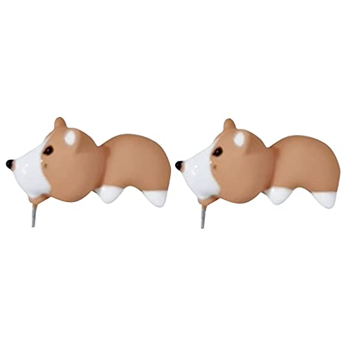 Hellery Pendientes de mordedura de Animales de Dibujos Animados Bonitos en 3D Moda mordiéndose la Oreja Perno de Animal para Adolescentes, niñas y Mujeres - Amarillo