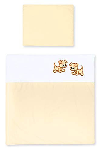 Amilian Kinderwagenset mit Stickerei fürs Baby Bettwäsche Garnitur für Kinderwagen 80x80 cm + 35x40 cm Bezüge 100{53661eb437fa6476c2ce8648a33078fffe7dd7e7bf4479546d96d60a2c54e709} Baumwolle in vielen Designs erhältlich (Weiß/Ecru mit Puppy, 2 tlg.)