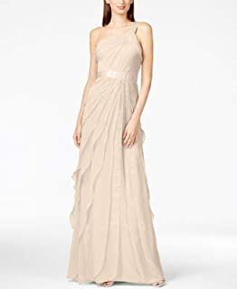 ADRIANNA PAPELL Womens Beige One Shoulder Tiered Chiffon Gown Asymmetrical Neckline Full-Length Evening Dress US Size: 8