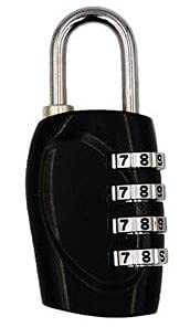Logic(ロジック) 4桁 ダイヤル式 南京錠 (ブラック) フック型 鍵 [郵便受け/メールボックス/ロッカー] シンプル 小型 ダイヤルロック トラベルグッズ 海外旅行 ロッカー ポスト 盗難防止 防犯 施錠 ダイヤルロック セキュリティ