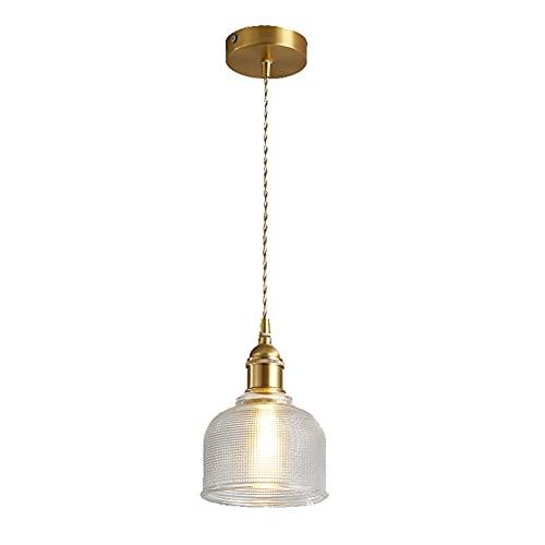 SDFDSSR Lámpara de araña de una Sola Cabeza de Vidrio de latón Sala de Estudio cafetería Lámpara Colgante Ajustable Estructura de Metal con Vidrio Transparente Lámpara de Techo Colgante E27 1 lámpara