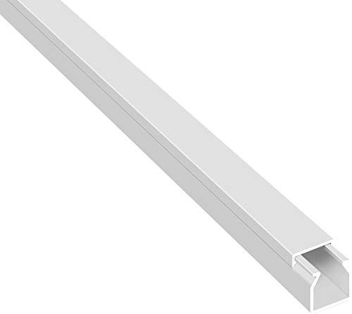SCOS Smartcosat 10 m Kabelkanal (16 x 16 x 2000 mm (5 Stück a 2 m) B x H x L, Weiß/Weiss/Reinweiß) schraubbar PVC Kunststoff, Aufputz Wand Montage allzweck Kabelleiste, Kabelschacht