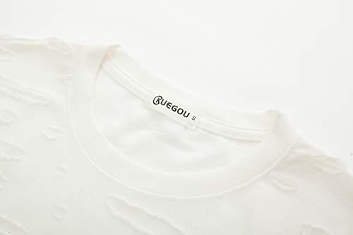 KLIEGOU Mens Hipster Hip Hop Ripped Round Hemline Hole T Shirt (05-3) (X-Large, White)