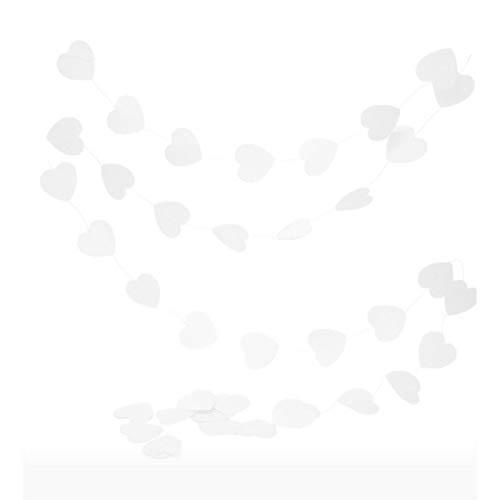 Doge Slinger met kleine hartjes, 6 cm, wit papier, lang in totaal 4 m, voor babyshower en bruiloft