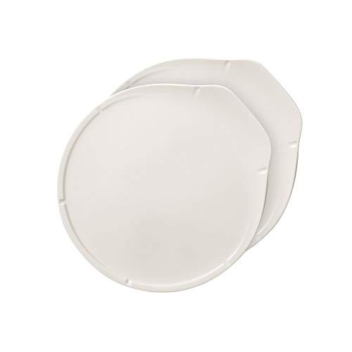 Villeroy und Boch Pizza Passion Pizzateller, 2er-Set, 33 x 31,5 x 3 cm, Premium Porzellan, Weiß
