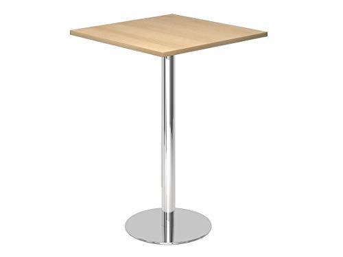 DR-Office Stehtisch eckig - Maße 80 x 80 cm - Bistrotisch Höhe 111,6 cm - 7 Farbvarianten - Tischfuß Chrom - Plattenstärke 2,5 cm, Farbe:Eiche