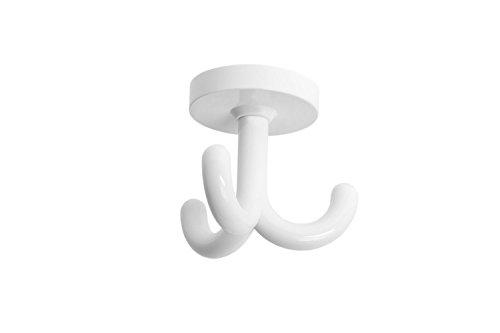 Gedotec Kleiderhaken Kinder Drehhaken Garderoben-Haken Dreifachhaken drehbar Kunststoff RAL 9010 - reinweiß | Kita | Möbelbeschläge - Made IN Germany | 1 Stück - Unterbauhaken Decken-Montage