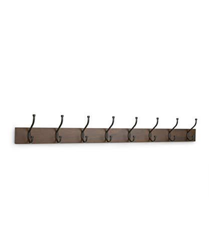 Perchero de madera de pared, 8 ganchos estándar 92 cm, Nogal, 2 unidades