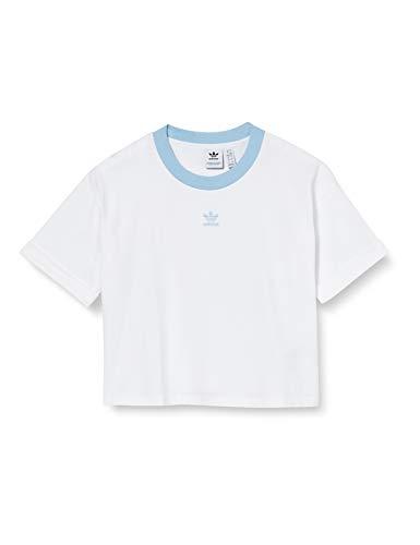 adidas Crop Top Camiseta sin Mangas, Mujer, White/Clear Sky, 42