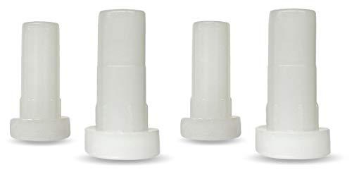 """Caster Socket Sleeve Round Inserts, 7/16"""" Inside Stem, 5/8"""" Outside Diameter [White] - Set of 4"""