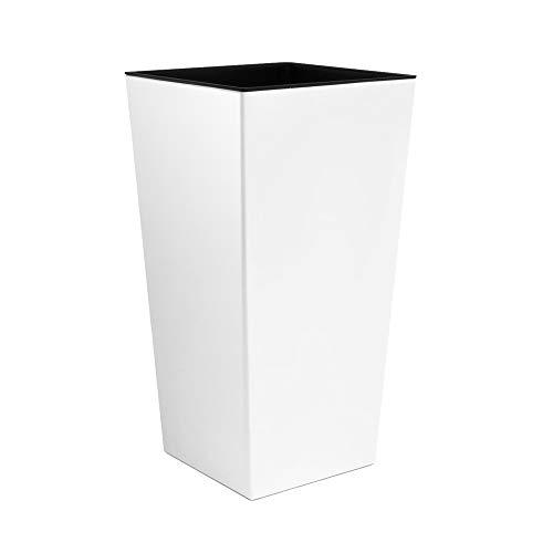 16 L Übertopf Kunststoff Blumentopf Pflanztopf viereckig mit Einsatz 22 cm glänzend weiß