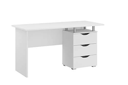 Rauch Möbel Alvara Schreibtisch in Weiß inklusive 2 Schubladen, Schreibtisch mit Stauraum BxHxT 140 x 75 x 66 cm