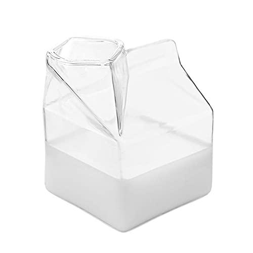 adfafw Copa de Vidrio de Crema de Vidrio - Recipiente de cartón de Leche Taza de Agua Resistente al Calor, Taza de Vidrio de Agua Caja de Crema de Leche, láctea Clara Café de café Taza de Vidrio Cozy