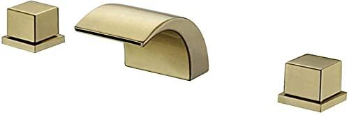 DFGBXCAW Grifo de Lavabo Dorado Cascada Grifo de Lavabo de latón 2 manijas cuadradas Grifo de Lavabo de baño de 3 Orificios Grifo de Lavabo de Agua fría y Caliente Lavabo montado en la Cubierta