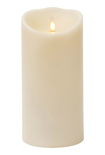 Liown Moving Flame Candle: LED Battery Operated Powered Remote Ready Flameless Candles with Timer (7' Ivory)