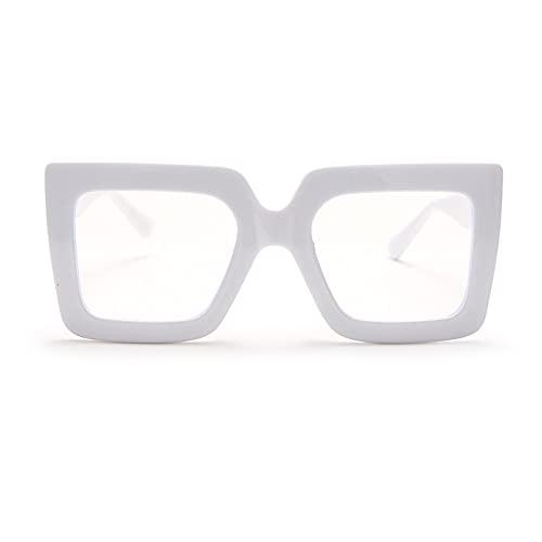ShSnnwrl Único Gafas de Sol Sunglasses Montura De Gafas Cuadradas Vintage Retro para Mujer, Montura Colorida, Lentes Transparente