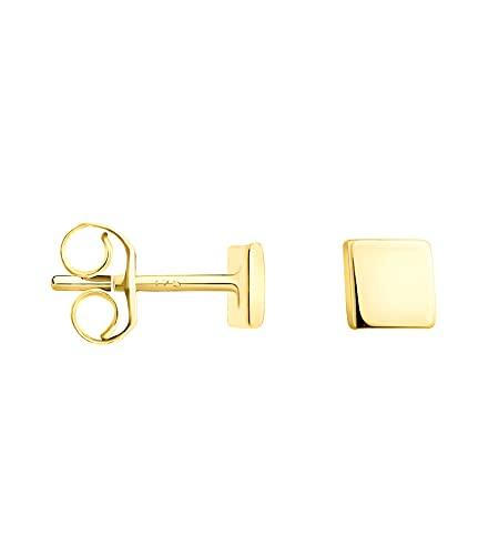DIAMALA Pendientes para mujer de oro 375 (9 quilates), oro amarillo con diseño cuadrado - DI20010