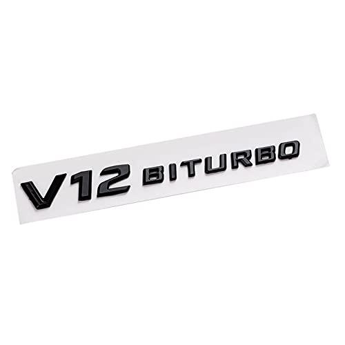 Puescn Pegatina de coche 3D ABS adhesivo para coche V12 BITURBO Logo emblema insignia trasera lado coche pegatina compatible con Benz AMG BMW VW Mazda Chevrolet emblema (nombre del color: V12 negro)