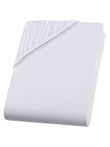 Frottierware Grosshandel Top calidad 160 g/m², Oeko Tex Heavy Jersey 100% algodón, sábana bajera ajustable, tamaño: 120 x 200 – 130 x 200 cm, color: blanco