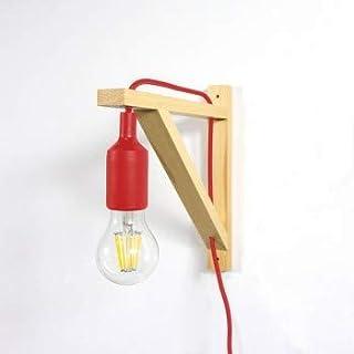 BarcelonaLED Aplique de pared LED nórdico de escuadra de madera y colgante de silicona en Color Rojo para Casquillo E27. 2 Años de Garantía - LN123-R.