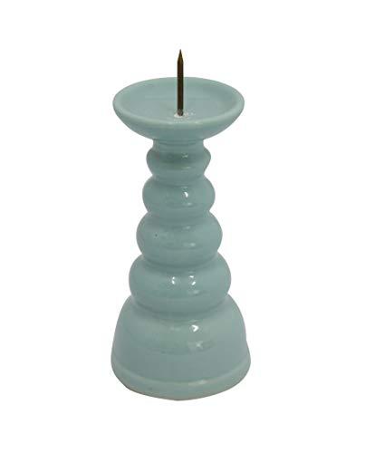 ローソク立て 陶器 青磁無地 3.0寸 / 蝋燭立て ろうそく立て 燭台 仏壇用燭台