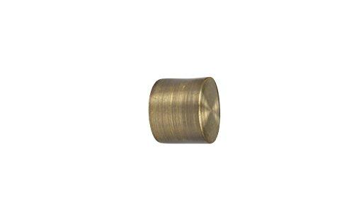 iso-design Gardinenstangen Endstück Kappe aus Metall für 16 mm Durchmesser, Messing Antik
