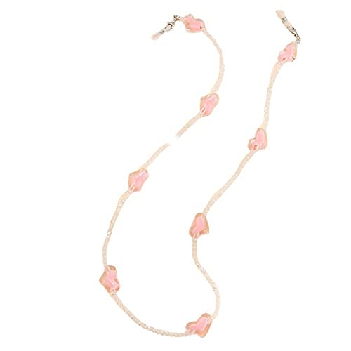Diaod Amor corazón Rosa Cristal Gafas de Sol Cadena romántica Cadena de Cuentas Transparente para Gafas joyería de Lanyard (Color : A, Size : Length-70CM)