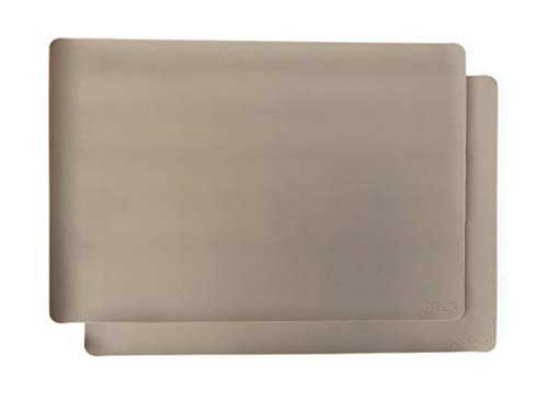 gasare, Extra Large, Extra Thick, Silicone Mats, Countertop Protector, Kitchen Counter Mat, Heat Resistant, Washable, Non Slip, 25 x 17 Inches x 1.4 mm, Set of 2, Taupe