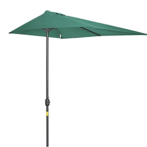 ZYFWBDZ Sombrilla de jardín de 2.3X1.2M, sombrilla de balcón, sombrilla Semi Redonda, sombrilla de manivela de Patio, sombrilla,Verde