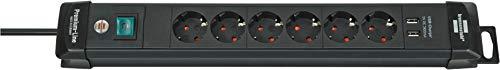 Brennenstuhl Premium-Line Steckdosenleiste 6-fach (Steckerleiste mit 3m Kabel und Schalter, mit Aufhänge-Vorrichtung, 2-fach USB 3,1 A, Made in Germany) schwarz